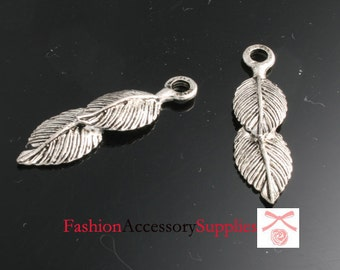 4pcs-33mm Antiqued Silver Patina Doble Leaves charms,Pendants (A501)