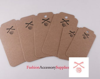 50pcs-82mmX44mm Kraft tags, Blank hang tags, labels for your project, Brown Thick Rigid Paper(H104)