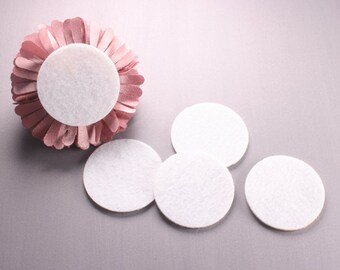 "200pcs-Felt Round Kraft Circle 40mm(1.57"")-White Color (G111)"