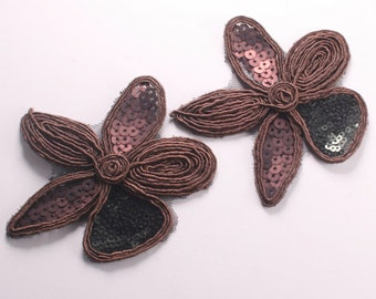 8pcs-84mm Sequin Flower for corsage,clothing,accessory and more(F214Brown)