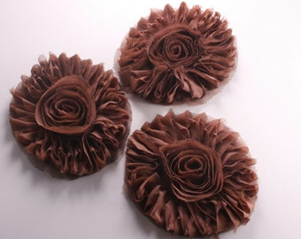 50% 4pcs-127mm Big Chiffon Flower for corsage,clothing,accessory and more-(F215Brown)
