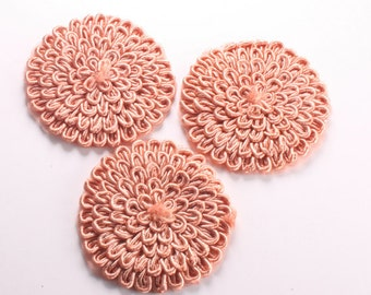 4pcs-66mm Round Lace Trim for corsage,Clothing,accessory,Art deco and more(F216Scarlet)