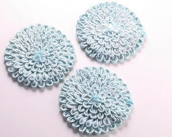 4pcs-66mm Round Lace Trim for corsage,Clothing,accessory,Art deco and more(F216SkyBlue)