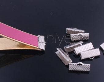 50pcs-16mm Width Leather,Ribbon Ends,pinch Crimps Silver Plated For Necklaces, Bracelets, Key Chains, Key Fobs(C167)