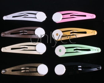 80PCS- 50mm Metallic Pearly Hair Snap Clip,pin with Pad Set 8colors-10 clips of each color(C522)