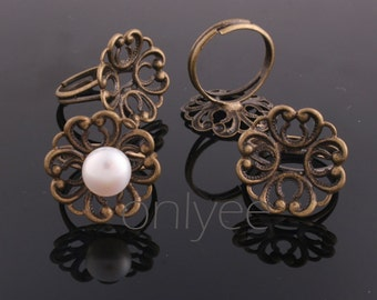 50PCS- Nickel Free And Lead Free Antiqued bronze Adjustable Pad RING Base of 20mm pad(E296)