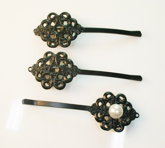10PCS-PAD62mm  Black plated Metal Bobby Pin with 25mm Filigree Pad(C521)