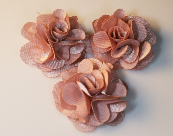 10Pcs-25mm 10Colors Small Satin Flower (F220-Indipink)