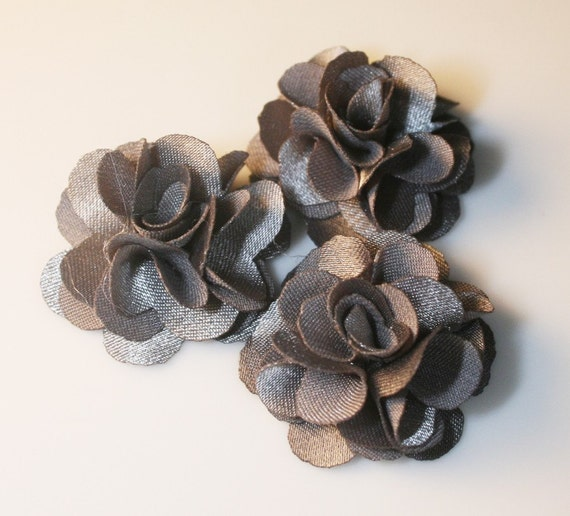 10Pcs-25mm 10Colors Small Satin Flower (F220-Gray)