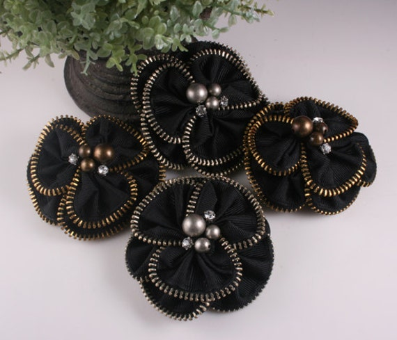 4pcs-78mm 2Colors Antique Silver,Bronze Zipper Flower for corsage,shoes,accessory etc.-2of each color(F234)