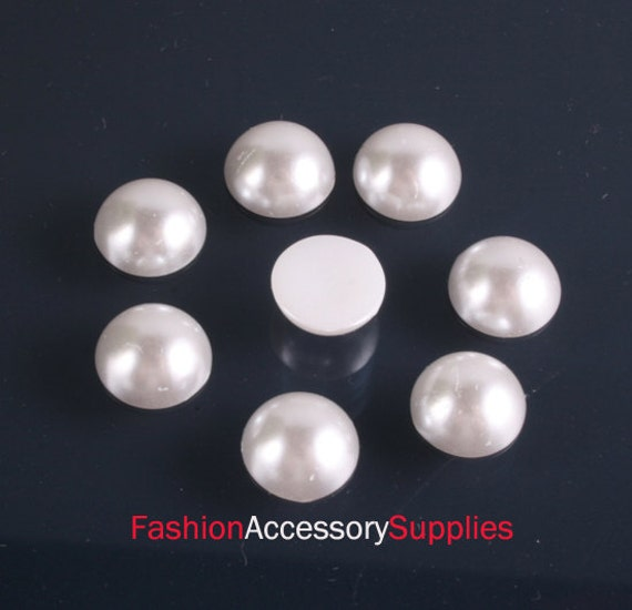 50pcs-8mm White Pearlized Round Cabochons (A120-8)
