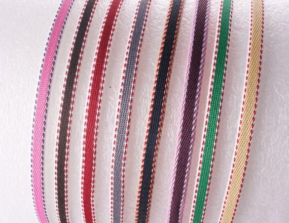 32pcs-5mm Handmade HighFlexMetalHeadband Covered with Cotton Stitch Ribbon-4of each color(E265)