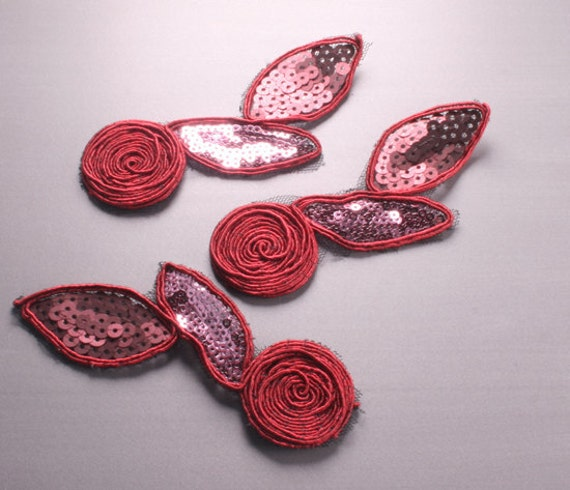5pcs-214mm Sequin Lace Trim for corsage,Clothing,accessory,Art deco and more(F209Red)