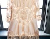 From our Paris trip... Vintage Italian CROCHET CUTOUT LACE dress