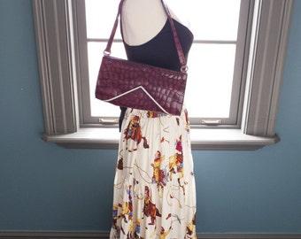 Kir royale... vintage burgundy leather handbag with embossed croc texture