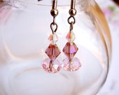 Pink Sunset Glass Crystal Earrings