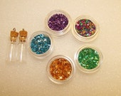 ON SALE Glitter Shards and Glass Viles Set