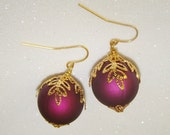Christmas Ornament Earrings-Purple with Gold Leaf