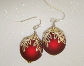 Christmas Ornament Earrings-Red with Silver Leaf