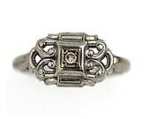 Antique Engagement Ring Unique Bow .05 ctw Vintage Diamond Ring 14K White Gold  Ribbon Anniversary Ring Diamond Wedding Ring!