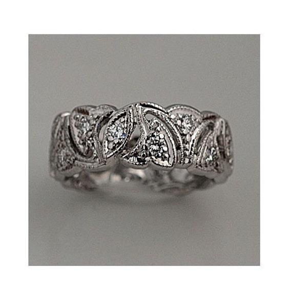 Antique Platinum Wedding Band Art Deco Diamond Ring Ladies Eternity Vintage Diamond Wedding Ring