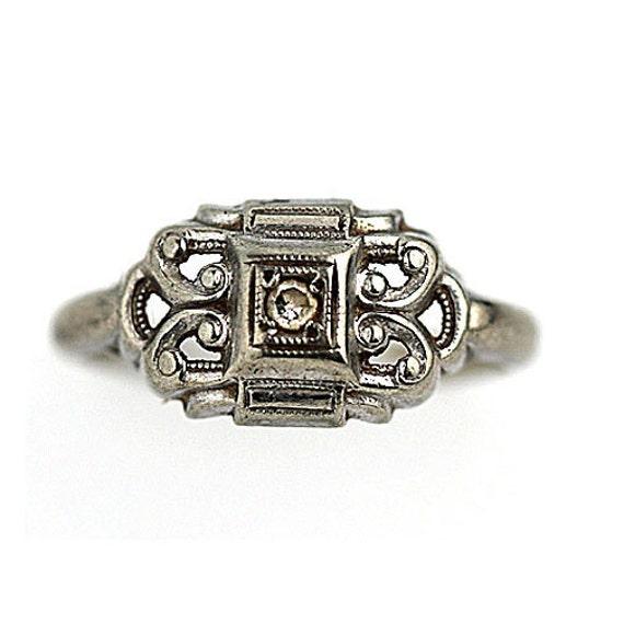 antique engagement ring unique bow 05 ctw by artdecodiamonds