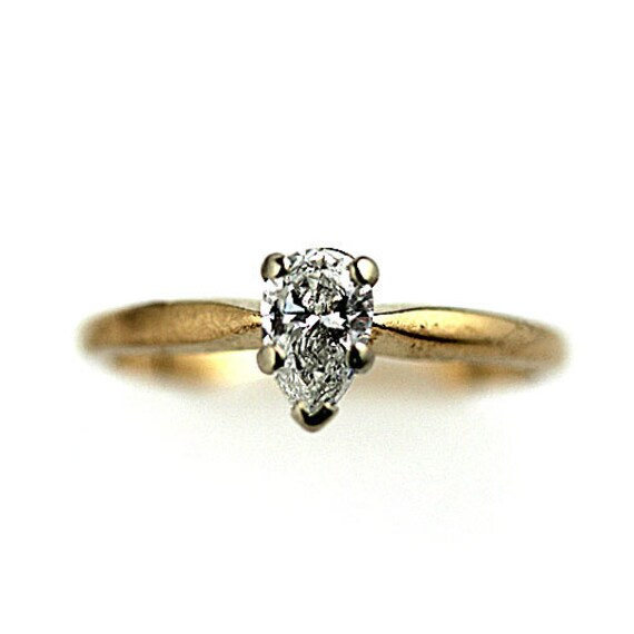 Vintage Pear Shape Diamond Engagement Ring 50ctw Solitaire