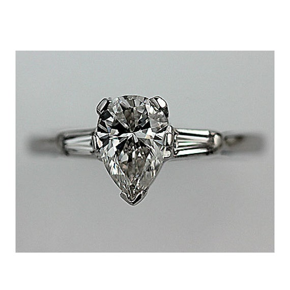 Vintage Pear Shaped Engagement Ring Platinum by ArtDecoDiamonds