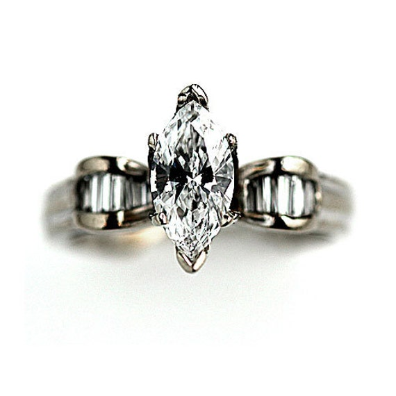 Marquis Engagement Ring 1.20ctw Vintage Diamond Ring GIA Marquis Diamond Ring Baguette 14 kt White Gold Marquis Ring Size 5!