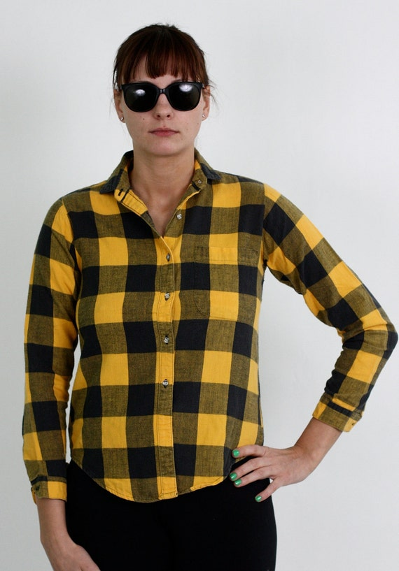 Womens Hunter Flannel in Black and Yellow