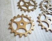 30% OFF SALE: Brass Spokes Wheel 19mm Gears Sprocket Watch Clock Steampunk Parts - Qty 5