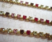 Stunning Pink Red Pale Yellow & Light Brown Czech Crystal 3mm Rhinestone Chain in Brass Setting Qty 1 yard