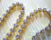 Rhinestone Chain Clear Czech Crystal 3mm 24PP in Brass Setting - Qty 1 yard