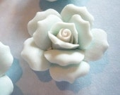 27mm Blue Ceramic Roses - Flower Cameos - Green Leaf - White Center - Flat Back Cabochons - Qty 6