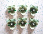 Green Violet with Chaton Rhinestone Center Flowers 14 X 12mm Cabochons Qty 2