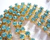 Sparkling Aqua Glass 3mm Rhinestone Chain in Brass Setting - Qty 25 inch strand