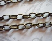 Textured Oval Rolo 4 X 6mm Chain in Antiqued Brass - 48 inches