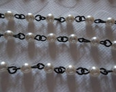 4mm Pearl Cup Chain - White Glass Pearls on Jet Black Bead Chain - Pearl Rosary Chain - Qty 18 Inch strand