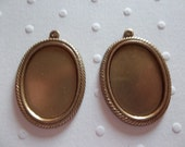 Vintage Inspired 25 X 18mm Antiqued Brass Rope Edge Settings