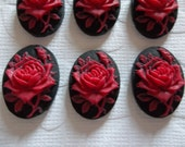 Blooming Red Rose Flower on Black Cameo - 25X18mm Plastic Cabochons - Qty 6
