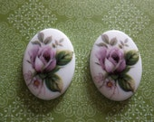 Vintage Decal Picture Stones - Pink Rose Cameos on Chalkwhite Base - 25 X 18mm Cabochons - Qty 2