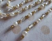 Pearl Bead Chain Alternating Crystal Clear & White Pearl 4mm Fire Polished Glass Beads on Gold Beaded Chain - Qty 18 inch strand