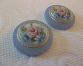Vintage Decal Picture Stones - Rose Floral Round Cameos on Matte Light Blue Base with Gold Rim - 18mm Cabochons - Qty 2