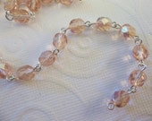 Rosaline Pink AB 6mm Fire Polished Glass Beads on Silver Beaded Chain - Qty 18 Inch strand