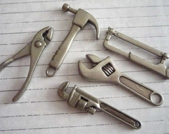 Five Piece Charm Set of Miniature Tools in Antique Silver - Hammer Two Wrenches Saw Pliers