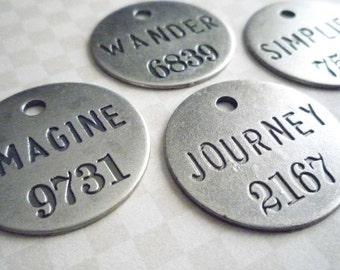 Antiqued Silver Round Tags with Words Numbers Sayings Text Pendants Charms Qty4