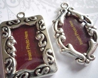 Small Antiqued Silver Fancy Photo Frames - Rectangle & Oval Charms or Pendants - Set of 2 Lockets