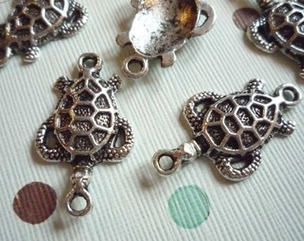 Antiqued Silver Turtle Charms - Connectors with Two Loops - Qty 6
