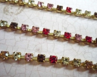 Stunning Pink Red Pale Yellow & Light Brown Czech Crystal 3mm Rhinestone Chain in Brass Setting Qty 1 yard