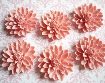 Matte Pink Resin Water Lily Flower Flat Back 50mm Large Cabochons Qty 6